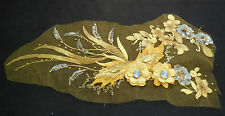 Luxury Large piece Yellow & Gold sequins beads floral lace Applique/ lace motif