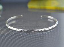 Navajo Artist handmade Sterling Silver stamped cuff Bracelet