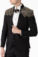 Jack Martin - Handmade Yellow Diamante - Black Slim Fit 3 Piece Wedding Suit