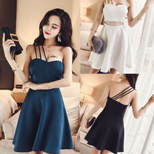Women Sexy Cocktail Party Spaghetti Strap Sleeveless Evening Short A Line Dress