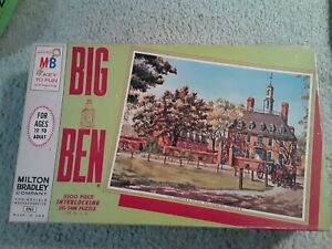 Vintage Jigsaw Puzzle Big Ben 1000 Pc Milton Bradley Willamsburg Virginia 1965