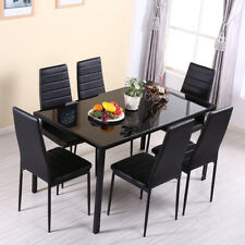 Glass Dining Table and 6 Chairs Seat Black Set Restaurant Home Furnitures Luxury