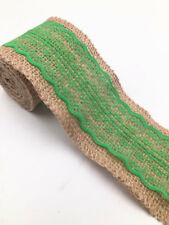 2M Lace Burlap Ribbon Natural Jute Hessian Wedding Party width 6cm green