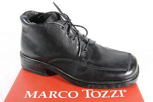 Marco Tozzi Botas de Cordón Negro, Forro de Cuero Nuevo