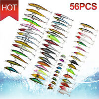 56pcs Lot Mixed Minnow Fishing Lures Bass Baits Crankbaits Fish Hooks Tackle US