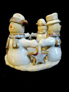 "Snowmen and Stars  Pillar Candle Holder Tan Blue Brown 4.5""x5"" Christmas Winter"