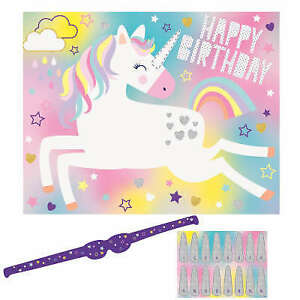 PIN THE HORN ON THE UNICORN PARTY GAME 16 PLAYERS (Similar Pin Tail on Donkey)