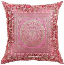 "Mandala Cushion Pillow Cover Silk Brocade Sofa Throw Indian Home Decor Pink 17"""