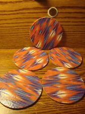 """#5 RADIO Wave DUCKTAPE design & Natural Cork Drink Coasters Placemats 3.5"""" in"""