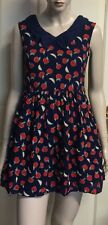Yumi  Cotton Collared Dress Fully Lined In A Sz 8 Aust 10 Uk Apple Print