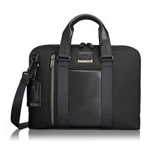 "TUMI Alpha Bravo Aviano 15"" Laptop Slim Brief Briefcase Bag Graphite Blk Unisex"