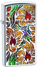 Zippo Choice Slim Fusion Floral High Polish Chrome Windproof Lighter 29702 NEW