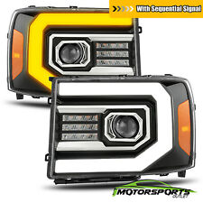 [Sequential Signal/DRL] For 07-13 GMC Sierra Polish Black Projector Headlights