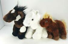 Brown White Black Horses Plush Stuffed Animal Ganz Webkins Soft Beanies Lot of 3
