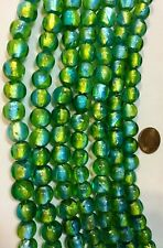 "TWO 16"" Strds SILVER FOIL LINED GREEN & AQUA Lampwork Glass Beads 10mm 50 Beads"