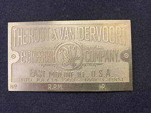 Brand New Root & Vandervoort Antique Hit And Miss  Engine Brass Data Tag