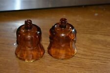 Homco Vintage Amber Tulip Glass Votive Candle Holders with Grommets Set of 2