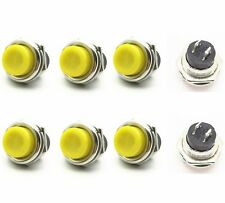 10pcs DS-212 16mm 3A 125V Switch Push Round Button No Lock Reset Yellow  CA