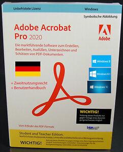 Adobe Acrobat Pro 2020 Vollversion CD + Handbuch Win Student and Teacher NEU