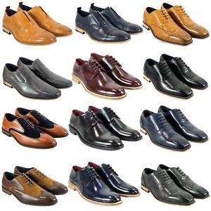 Men's Cavani Leather Shoes Oxford Brogues Smart Casual Wedding Footwear New