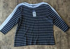 Women's NWT Black And White Striped Sweater, Chaps, 3x