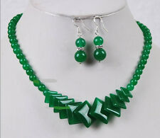Real Natural Green Jade Beads Jewelry Necklace Earrings Set AAA grade 009