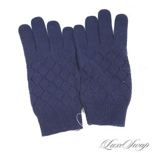 NWT Brooks Brothers Navy Blue Diamond Knit Argyle Perforated Stretch Wool Gloves