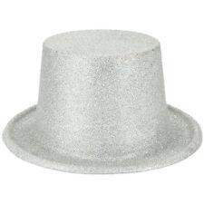 51b90fd25ca23 Silver Glitter Top Hat Birthday Dance Disco Party Supplies Costume Accessory