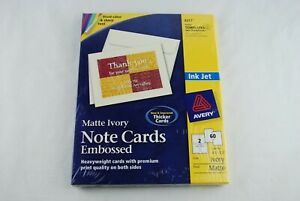 """Avery Embossed Matte Ivory Note Cards - 4 1/4"""" x 5 1/2"""" - 60 Cards and Envelopes"""