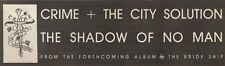 8/4/89Pgn06 Advert: Crime & The City Solution 'the Shadow Of No Man' 3x11