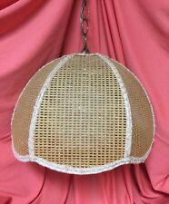 Vtg Wicker Rattan Hanging Swag Lamp White Globe Light
