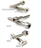 M5 / 5mm A2 Stainless Steel Bolts; Socket Cap Screws, Countersunk & Hexagon Head
