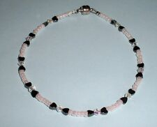 Heart Hematite and Czech Crystal AB Magnetic Clasp Anklet Ankle Bracelet
