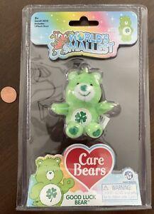 GOOD LUCK BEAR World's Smallest Care Bears ~ Series 2 ~ Green ~ Plush ~ NIP