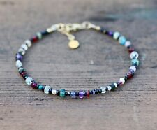 Natural Black Spinel and Multi Gem Sapphire Garnet Bracelet 14k Gold Filled
