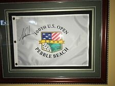 TIGER  WOODS SIGNED 100th US OPEN PEBBLE BEACH FLAG, Framed 29x23