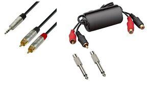 Anti Hum Laptop to PA / Mixer Lead Kit 3.5mm to Phono or Jack - 3 Metres Long