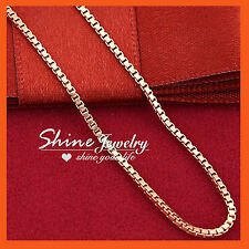 9K PLAIN ROSE GOLD FILLED WOMENS GIRLS MENS BOX CHAIN SOLID NECKLACE for PENDANT