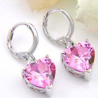Romantic Love Heart Natural Pink Fire Topaz Gemstone Silver Dangle Earrings