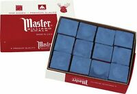 12-Pack Master Premium Billiard Pool Cue Chalk - BLUE - One Dozen