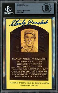 Stanley Stan Coveleski Autographed HOF Plaque Postcard Indians Beckett 12059007