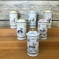 Lot of 6 VTG 1993 Lenox The Spice Carousel Fine Porcelain Spice Jars & Lids