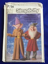 Disney Grumpy Dopey Costume Simplicity 7736 Pattern 7 Dwarf Child 10-12 UNCUT