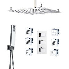 """Chrome 20"""" Shower Faucet Set Ceiling Mounted With Massage Body Jets Hand Shower"""