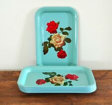 Vintage TURQUOISE Tin Metal Red White ROSE Flower RECTANGULAR Serving TRAY