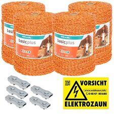 4000m Robuste Weidezaunlitze 3x0,20 Niro gelb-orange + Verbinder und Warnschild