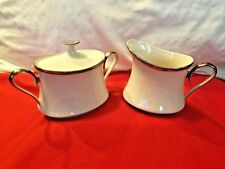 Lenox Solitaire China Creamer & Sugar Bowl With Lid Ivory With Platinum Trim