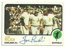 JOE RUDI 1973 TOPPS SIGNED # 360 A'S
