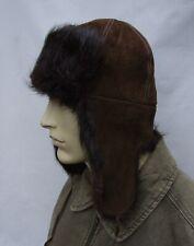 Vintage  REAL BEAVER  AVIATOR  trapper FUR   hat size:M 56 / 57cm
