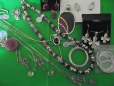 Scrap or to wear Lot 76.65 grams of Sterling Silver Jewelry marked .925 (18 pcs)